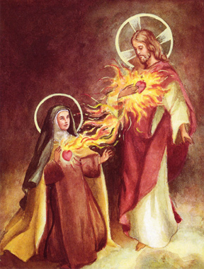 Jesus with Carmelite Nun and Flaming Hearts
